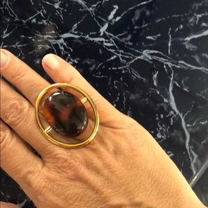 Saint Laurent gold and brown cocktail ring